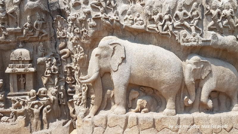 visiter-mahabalipuram-et-pondichery la descente du Gange