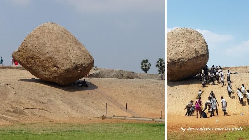 visiter-mahabalipuram-et-pondichery la motte de beurre de Krishna